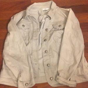NWT light gray denim jacket CJ Banks